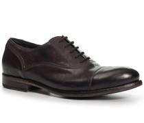 Schuhe Oxford, Kalbleder glatt, mokka