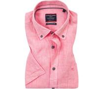 Hemd, Casual Fit, Leinen, pink meliert
