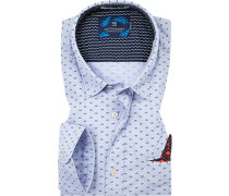 Oberhemd mit Einstecktuch, Regular Fit, Popeline