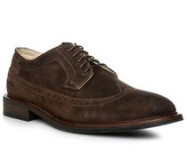 Schuhe Budapester, Kalbvelours, dunkelbraun