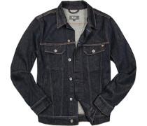 Jeansjacke, Baumwolle, dunkelblau meliert