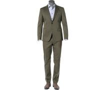 Anzug, Slim Fit, Baumwoll-Stretch, olivgrün