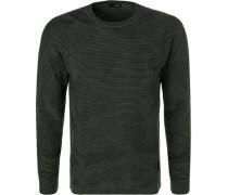Pullover, Baumwolle, khaki gestreift