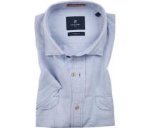 Kurzarm-Hemd, Modern Fit, Leinen-Baumwolle