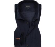Hemd, Tailored Fit, Feincord, nachtblau