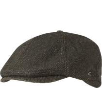 Cap, Wolle, dunkelgrün gemustert