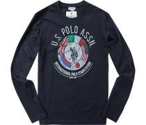 T-Shirt Longsleeve, Baumwolle, dunkelblau
