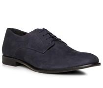 Schuhe Derby, Velourseder, blu scuro