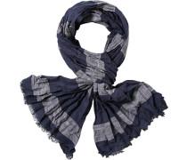 Schal, Baumwolle, navy-grau gestreift