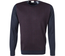 Pullover, Wolle, navy-rot gemustert