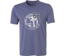 T-Shirt, Modern Fit, Baumwolle, rauchblau