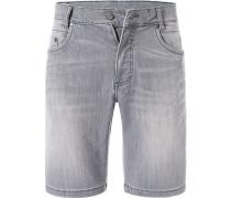 Jeansshorts, Baumwoll-Stretch, hellgrau
