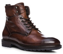 Schuhe Stiefeletten, Leder, castagno