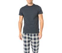 T-Shirt, Baumwolle, nachtblau meliert