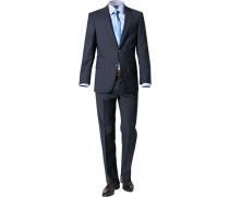 Anzug, Regular Fit, Schurwolle, marineblau