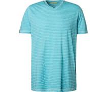 T-Shirt, Baumwolle, türkis gestreift