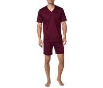 Schlafanzug Pyjama, Baumwolle, bordeaux