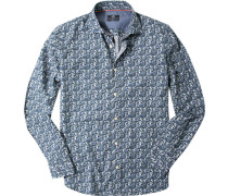 Oberhemd, Popeline, jeansblau gemustert