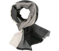 Schal, Wolle, hellgrau-schwarz gemustert