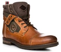 Schuhe Stiefeletten, Leder-Textil, cognac