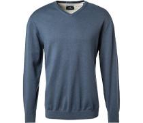 Pullover, Wolle-Baumwolle, rauchblau