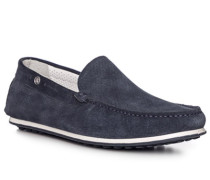 Schuhe Slipper, Veloursleder, nachtblau