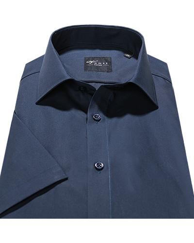 Kurzarm-Hemd, Slim Fit, Popeline, nachtblau