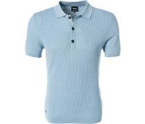 Pullover Polo, Baumwoll-Strick, hellblau