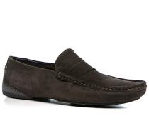 Schuhe Mokassins, Veloursleder, dunkelbraun