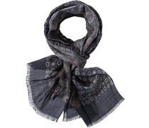 Schal, Wolle, nachtblau gemustert