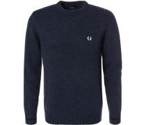 Pullover, Wolle, schwarz-dunkelblau meliert