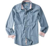Ober-Hemd, Slim Fit, Baumwolle, jeansblau