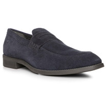 Schuhe Slipper, Veloursleder, navy