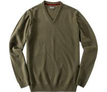 Pullover, Kaschmir-Wolle, moosgrün meliert