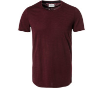 T-Shirt, Baumwolle, bordeaux meliert