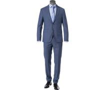 Anzug, Schurwolle, bleu-grau