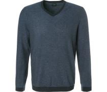Pullover, Modern Fit, Wolle, marineblau