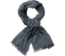 Schal, Wolle, hellgrau-dunkelblau gestreift