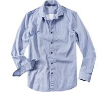 Hemd, Slim Fit, Baumwolle, jeansblau-weiß