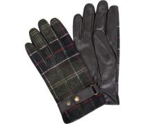 Handschuhe, Leder-Wolle, -grün kariert