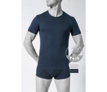 T-Shirts, Baumwolle, marineblau-hellgrau