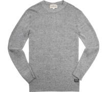 Pullover, Leinen, hellgrau meliert