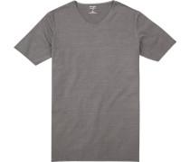 T-Shirt, Body Fit, Baumwolle, mittelgrau