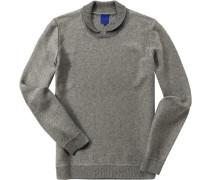 Pullover, Baumwolle, mittelgrau meliert
