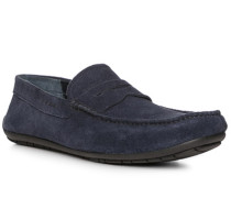 Schuhe Mokassins, Velourleder, navy