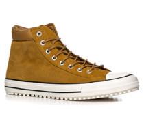 Schuhe Sneaker, Veloursleder, ockergelb