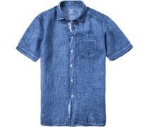 Kurzarmhemd, Modern Fit, Leinen, jeansblau
