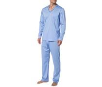 Schlafanzug Pyjama, Baumwolle, hellblau
