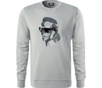 Sweatshirt, Baumwolle, silbergrau