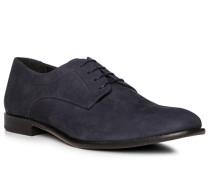 Schuhe Derby, Leder, blu scuro